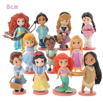 Disney Princess Toys 11pcs 8cm Moana Snow White Merida Action Figures Mulan Mermaid Tiana Jasmine Dolls Kids Toys For Children