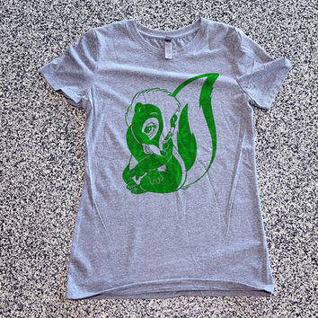 Weed Green Skunk  Womens Athletic Grey T Shirt - Graphic Tee - Clothing - Gift