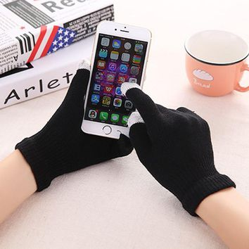 LumiParty Knitted cycling Gloves Outdoor Windproof Breathable Touch Screen Warm Riding Gloves for Men and Women