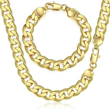 Jewelry Set Bracelet Necklace Men's Yellow Gold Filled Curb Cuban Link Chain 12mm