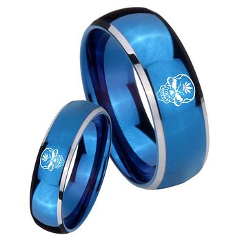 His Her Glossy Blue Dome Skull Marijuana Leaf Two Tone Tungsten Wedding Rings Set