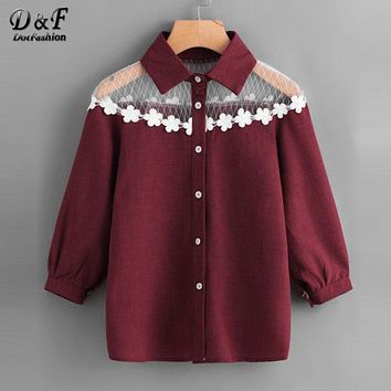 Dotfashion Contrast Lace Appliques Shirt 2017 New Arrival Button Collar Women Clothing 3/4 Sleeve Casual Top And Blouse