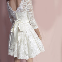 Lace SHORT Wedding  party /reception/ ivory  dress / long Sleeves Bridal Gown