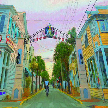 Key West Art, Bahama Village Entrance, Colorful Tropical Houses, Duval Street, 8x10 11x14 16x20 Giclee Print ~ Korpita