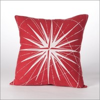 "Cricket Radio: Compass Rose Linen Pillow, in Red, Aqua, or Stone 20"" *25% Off*"