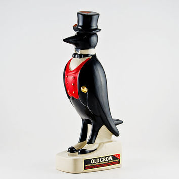 Old Crow Bourbon Decanter Red Vest and Top Hat, Empty