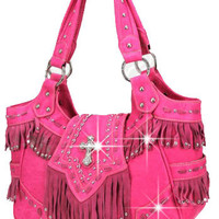 Cross Decorated Western Handbag in Pink M