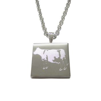 Silver Toned Etched Cow Pendant Necklace