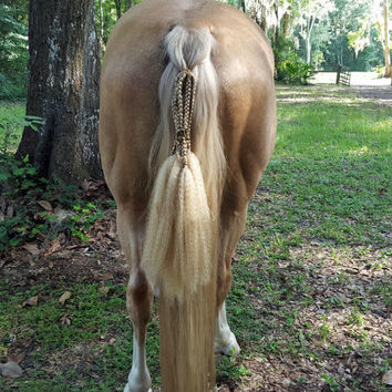 Dragon Dreads Tail Ornament for Horses - Equine Blond Synthetic Hair and Dragon -- Silver Dragon Dreadlocks for Horse