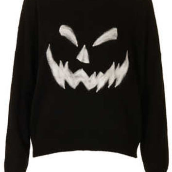 Knitted Pumpkin Face Jumper - Ghoul Girls  - New In