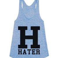 H is for Hater Racerback Tank Top-Unisex Athletic Blue Tank