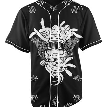 Masked Black Button Up Baseball Jersey