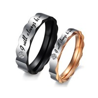 "Stainless Steel Love ""I Will Always Be with You"" Couples Promise Rings Mens Ladies Wedding Bands with Cubic Zirconia"
