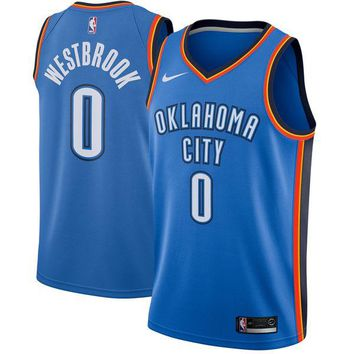 Russell Westbrook Oklahoma City Thunder # 0 Nike Blue Swingman Icon Edition Jersey - Best Deal Online