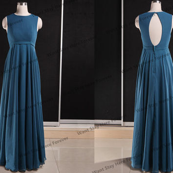 Elegant Dark Color Two Shoulder Round Neck Key Hole Back Column Floor Length Long Prom Dress,mother of the bridal dress,long party dress