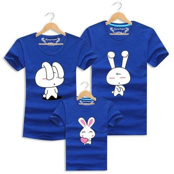 PEAPHY3 Lovely Rabbit T Shirts Family Clothing Family Look Clothes Soft Cotton Tops Tees Matching Mother Father Daughter Son Clothes Set
