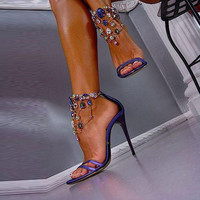 Luxurious Purple Rhinestone Ankle Wrap Heel Sandals with Plus Size