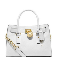 Michael Kors Medium Saffiano  Leather Tote - White