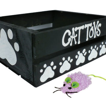 Cat Toy Box Hand Painted - Hand Painted Kitty Kitten Cat Toy Chest Black with White Paw Prints