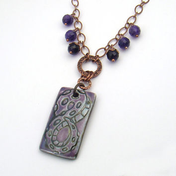 Purple tentacle necklace, antiqued copper chain, lavender amethyst octopus cephalopod 18 3/4 inches 48cm