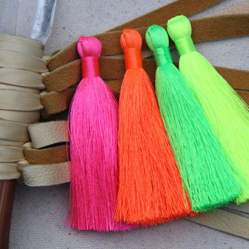 "NEON Tassels / 3 Fluorescent Silky Handmade Large Tassels / Boho Jewelry Making Tassels, DIY Craft Supplies / 3.5"" / You Choose 3 Colors"