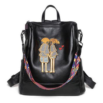 Leather Character Embroidery Backpack - Black Sheep Leather Bookbag College School iPad Bag