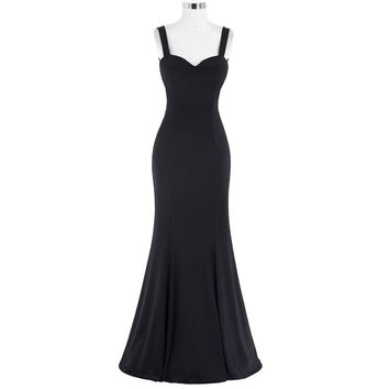 Sexy Long Black Women Maxi Dress Summer Bodycon Ladies Party Dress robe longue femme 2016 Sleeveless Floor Length Mermaid Dress