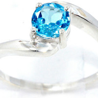 1 Carat Blue Topaz Round Ring .925 Sterling Silver Rhodium Finish White Gold Quality