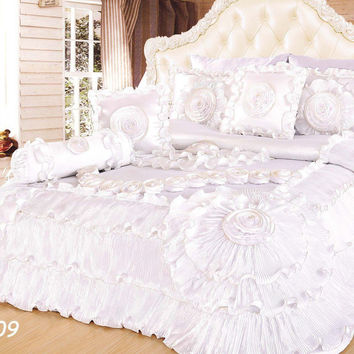 Tache 6 Piece Faux Sateen Royal Wedding Chamber in White Comforter Set