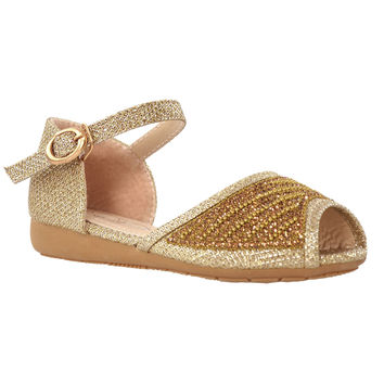 Girls Peep Toe Glitter Ballet Flats Gold