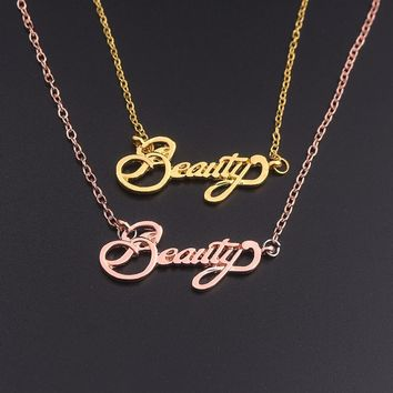 SG Fashion Film Rose Gold Letter Beauty Necklaces Pendants Beauty And Beast Necklaces Girl Women Gift Jewelry