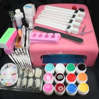 Hot Sale 25 in 1 Professional Nail Art Set 12 Color Pure Solid Uv Gel Brush Buffer Tool Nail Tips Glue Super Kit Uv 36w 110v Us Plug Pink Lamp Dryer#23