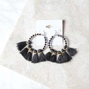 Hoop Fan Earrings, Black