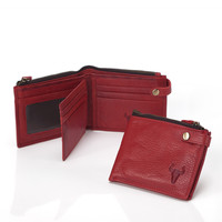 Leather Handcrafts Red Vintage Wallet [9026225667]