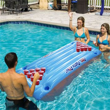 Hot Selling 24 Cups Holder Inflatable Beer Pong Table Pool Float Summer Water Party Fun Air Mattress Ice Bucket Cooler Toys