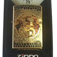 Zippo Custom Lighter - Ann Stokes Artist Dragon w/ Scales Design High Polish Brass 254B-ZF400057