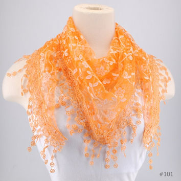 Orange Lace Fichu Metallic Silver Roses Scarf Shawl Cowl Triangle Sheer Fashion Lightweight Women Accessories by Creations by Terra