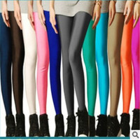 Neon Leggings New Autum 2016 Solid Candy Cotton tigth Leggins For Women Fashion Slim Workout Pants Push Up Thin Leggins HDDK0022