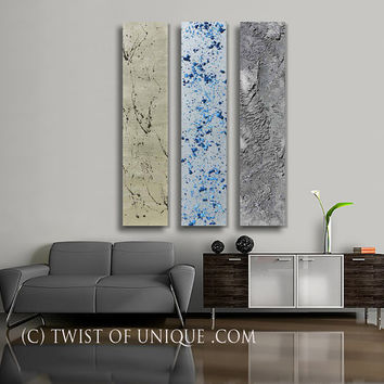 Industrial Metallic abstract Painting,  ORIGINAL Painting,  Metal Wall Art,  - Blue, Silver, Gold,  Iron, Metal