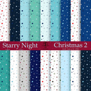 Starry Night Christmas 12x12 Digital Paper Pack Printable Designs Instant Download Scrapbooking Paper Crafts - Pack of 18 - Blue Red Green
