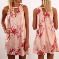 Summer dress pink digital printing neck hollow out the dress