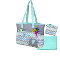 PERSONALIZED 3 in 1 Diaper Bag set Blue Elephant -Custom Monogram /Name Embroidered -Changing Pad & Pouch for infant /Baby Bag /Baby Gift