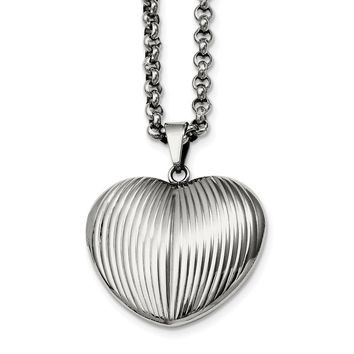 Stainless Steel Puffed Heart Pendant Necklace 24in