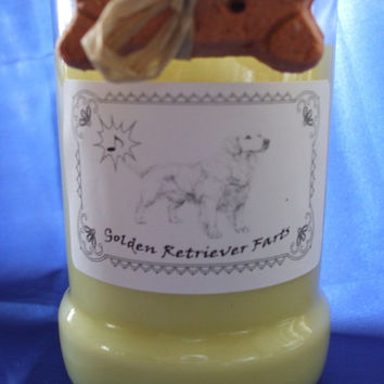 Golden Retriever Farts Candle in a Recycled Liquor Bottle - 10oz