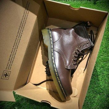 ESBNW6 Sale Newest Dr. Martens Modern Classics 1460 Retro Brown Leather Boots 524952-1
