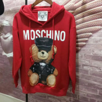 """""""Moschino"""" Women Casual Letter Pattern Print Loose Long Sleeve Pullover Hooded Sweater Tops"""