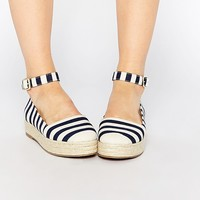London Rebel Ankle Strap Flatform Espadrilles