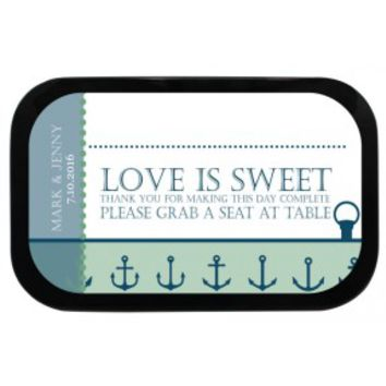 Anchors Personalized Wedding Place Card Mint Tins
