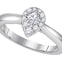 Diamond Bridal Ring with 0.26ct Center Princess Stone in 14k White Gold 0.39 ctw