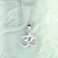 Crystal Om Necklace in Sterling Silver